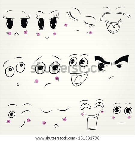 Face expression collection - stock vector