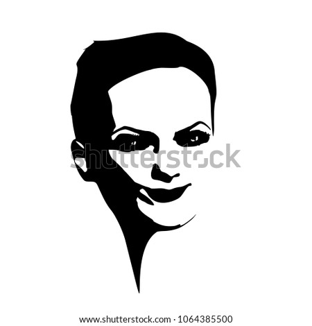 face front view elegant silhouette female stock vector 1064385500