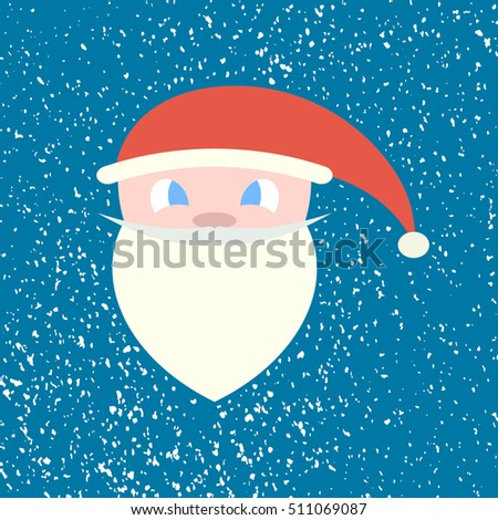 Face, head of Santa Claus on a background of falling snow. Blue background. Vector illustration