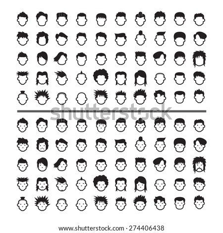 face icons - stock vector