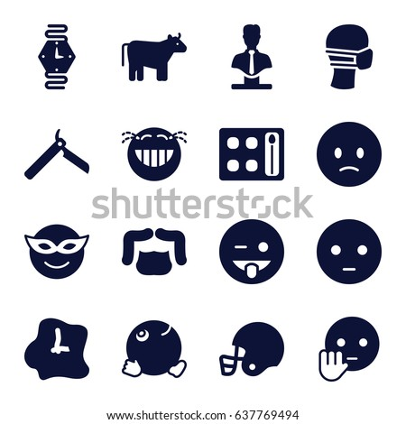 Face icons set. set of 16 face filled icons such as cow, bllade razor, man hairstyle, eyeshadow palette, bust, emoji in mask, sad emot, emoji showing tongue, laughing emot