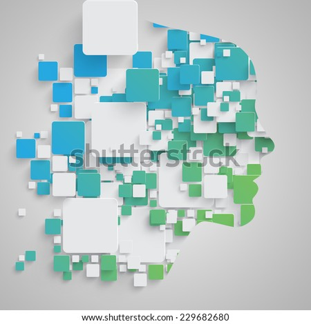 Face made by colorful squares, vector - stock vector