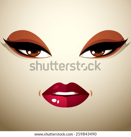 Face makeup, lips and eyes of an attractive woman displaying passion. - stock vector