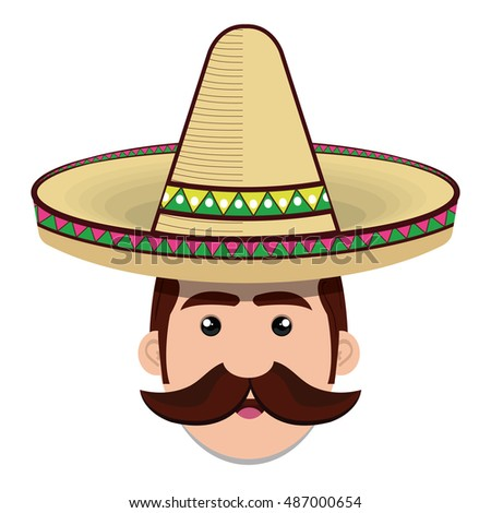 face man mexican hat and moustache graphic