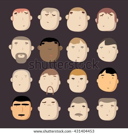 Face Man Set Set Different Facial Stock Photo Photo Vector
