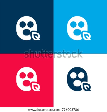 face mask four color material minimal stock vector 796003786 rh shutterstock com Red and Blue Company Logo I Know Its Not Red and Blue Logos