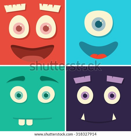 Face monsters with emotions. Vector illustration