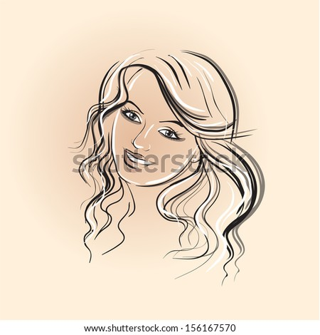 face of a beautiful girl with long hair and beautiful eyes - stock vector
