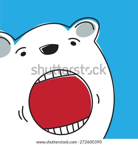 face of a polar bear - stock vector