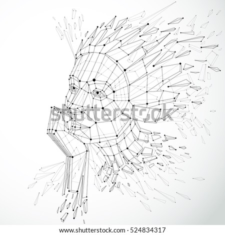 Face of a thinking woman created in low poly style and with connected lines, 3d vector black and white wireframe human head, brain exploding which symbolizes intelligence and imagination.
