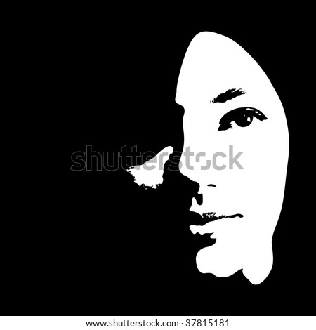 Face of a young girl in vector