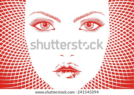 Face of beautiful woman with red background - stock vector