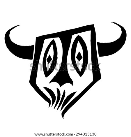 Face of the horny devil. Black simple sketch - stock vector