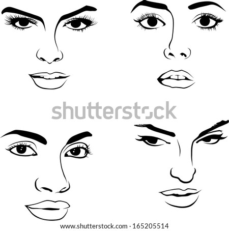 Face of Woman - stock vector