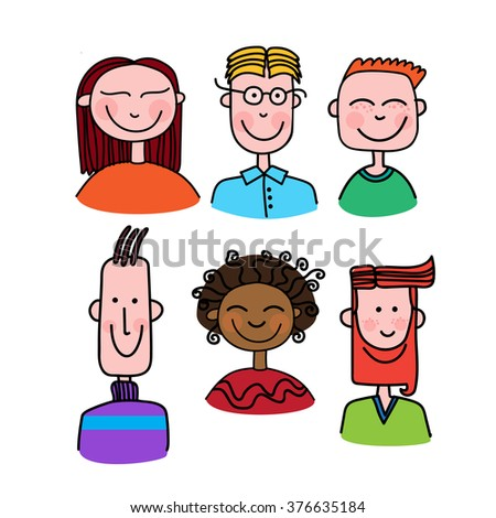 Face People Set Cartoon Avatar Collection Man Woman Portrait Profile Icon Flat Design Vector Illustration
