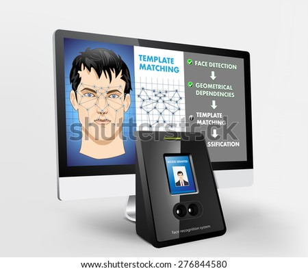 Face recognition - biometric security system - stock vector