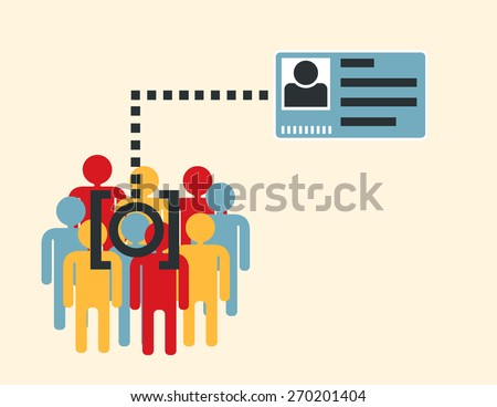 face recognition system verifying  suspect in the crowd    - stock vector
