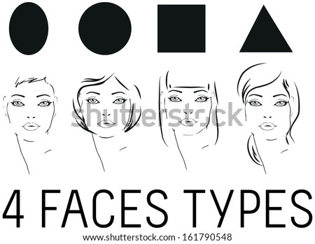 Face Shape woman faces beauty types set Portrait of beautiful woman tattoo style - stock vector
