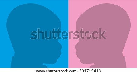 Face silhouette baby on pink and blue background.