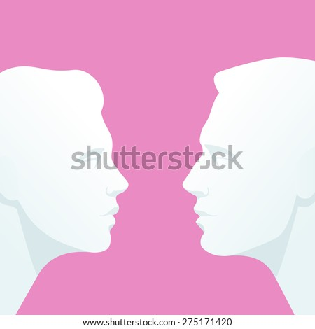 Face to face. Heads of man and woman who look into each others eyes  - stock vector