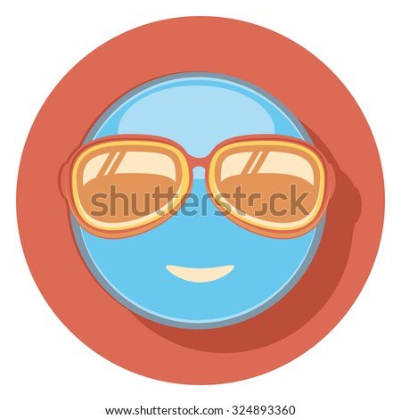 face with glasses flat icon in circle - stock vector