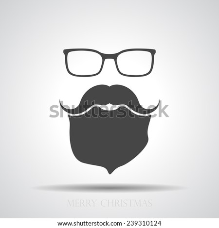 face with glasses, mustaches and beard - stock vector