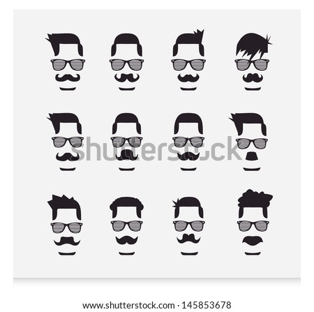 Face with Mustaches (hipster) - stock vector
