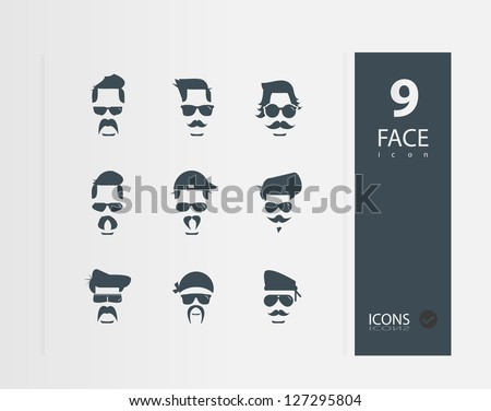 Face with Mustaches ( Set of 9 Quality icons ) - stock vector