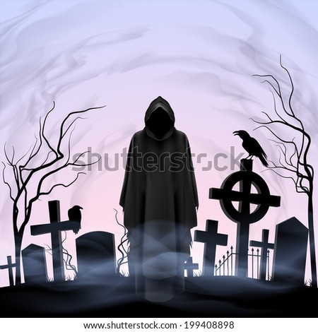 Faceless angel of death among graves in the cemetery. Twilight - stock vector