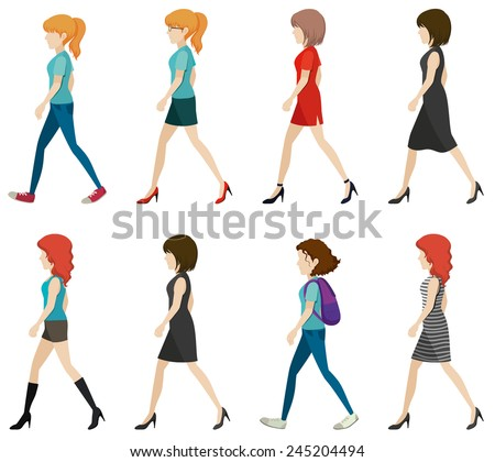 Faceless ladies walking in one direction on a white background - stock vector