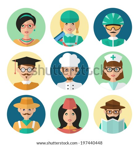 Faces avatar icons profession occupation job set flat isolated vector illustration - stock vector