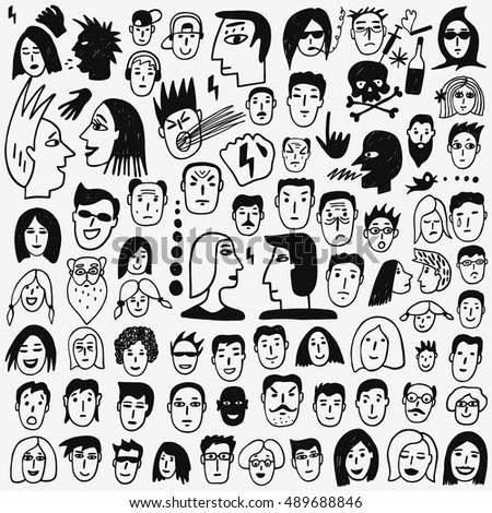 Faces doodles stock vector 489688846 shutterstock for Doodle art faces