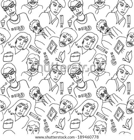 Faces Hand Drawn Seamless - stock vector