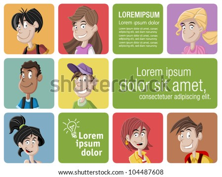 Faces of cartoon teenager students - stock vector
