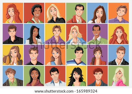 Faces of fashion cartoon young people. - stock vector