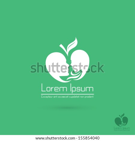 Faces of men and women in the form of apple - vector illustration - stock vector