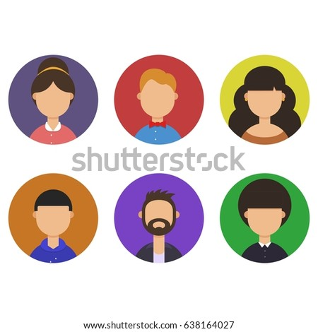 faces of the people in the circle set, vector flat illustration