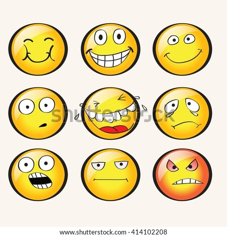 faces with emotions. vector. - stock vector