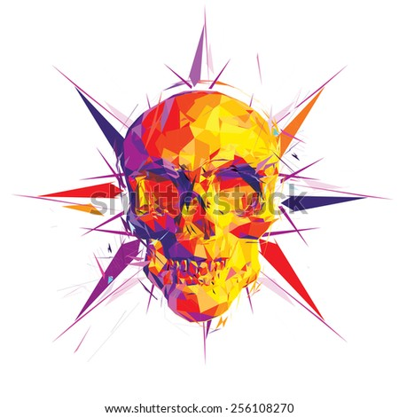 Facet skull vector illustration - stock vector