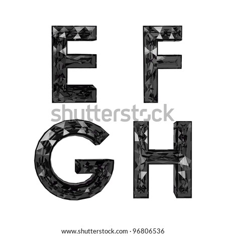 Faceted 3d black diamond font - stock vector