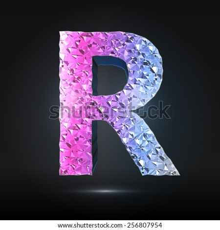 Faceted 3d diamond font - Glamour letter R - stock vector