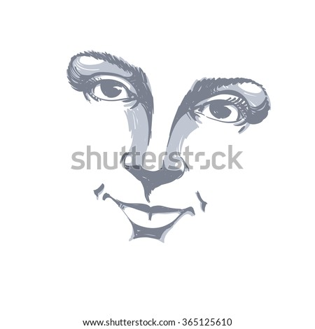 Facial expression, hand-drawn illustration of face of a girl with positive emotional expressions. Beautiful features of lady visage.