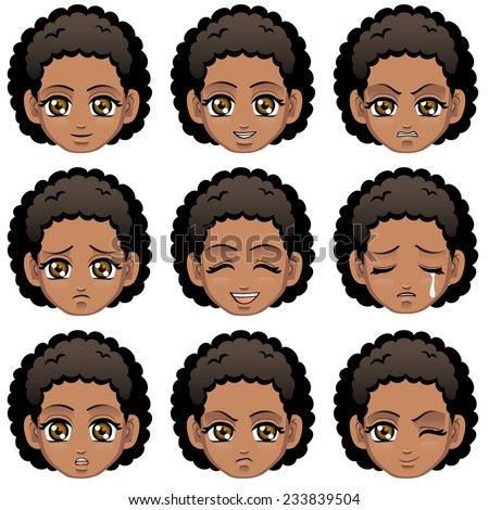 Facial expression of girl (African Descent) - stock vector