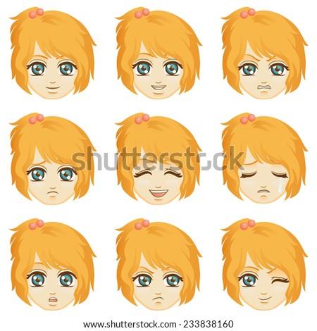 Facial expression of girl (Caucasian Descent) - stock vector