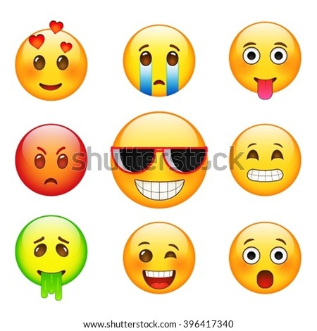 Facial expressions emotions, sadness, joy, sickness, love, facial expression with glasses. Yellow  cartoon sign facial expression. - stock vector