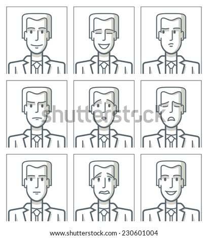 Facial expressions of a young businessman. Simple line. Nine drawings of a young businessman with different facial expressions. The drawings are made with simple lines. EPS8 file. - stock vector