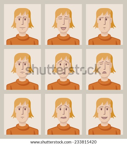 Facial expressions of a young man. Flat. Nine drawings of a young man with different facial expressions. EPS8 file. - stock vector