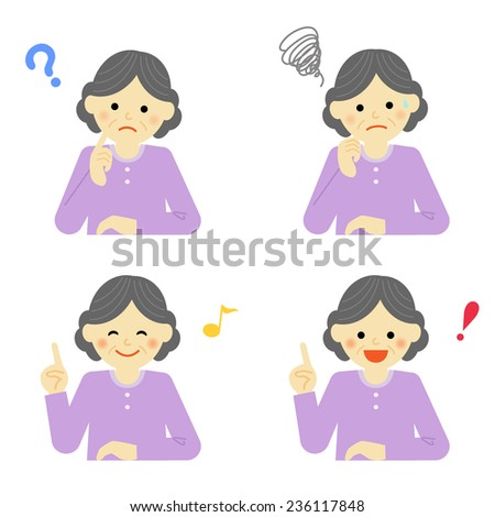 Facial expressions of senior woman / Vector EPS 10 illustration - stock vector