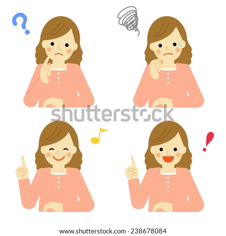 Facial expressions of young woman / Vector EPS 10 illustration  - stock vector