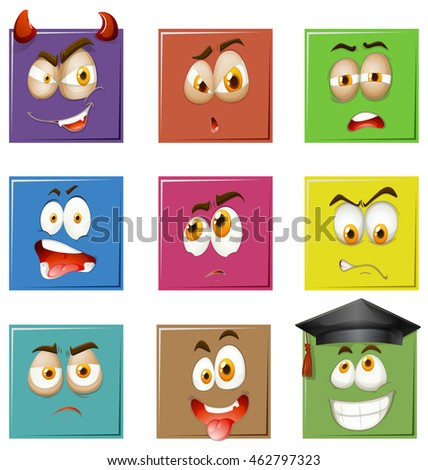 Facial expressions on squares illustration